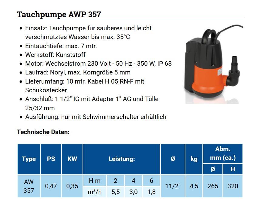 Technische Daten AWP 357